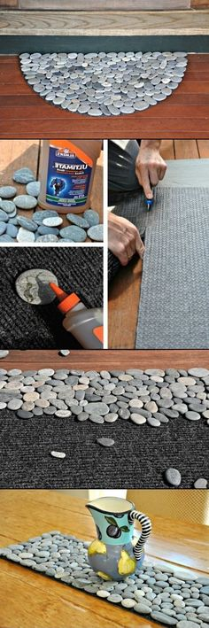 DIY Rock Doormat and Rock Projects. I love the idea of making a runner for the dining room table to put hot pans of food on.