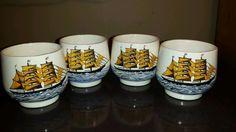 Sake Tea Cups Set 4 Japanese Nautical Trade Sailing Ships Ocean Signed Artist in Antiques   eBay