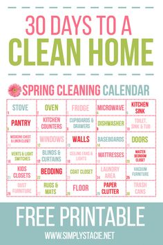 spring cleaning checklist 30 Day Spring Cleaning Calendar -You are 30 days away from a fresh, clean home! Use this free 30 Day Spring Cleaning Calendar printable to breakdown a big job into small, manageable tasks.