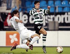 Cristiano Ronaldo breezes past a defender after making his Sporting Lisbon first team bow at 17