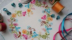 Transfer Embroidery Kit 'Tranquillity' (Brights) ; Beautiful Kits from The Maggie Gee Embroidery Studio by MaggieGeeNeedlework on Etsy https://www.etsy.com/listing/215740824/transfer-embroidery-kit-tranquillity