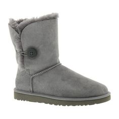 UGG? Bailey Button ($165) ❤ liked on Polyvore featuring shoes, boots, ankle boots, grey, grey ankle boots, gray tall boots, short boots and grey leather boots