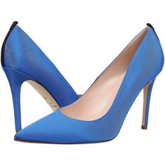 SJP by Sarah Jessica Parker Fawn 100mm Women's Shoes ($350) ❤ liked on Polyvore featuring shoes, pumps, heels, blue, blue high heel shoes, pointed toe high heel pumps, blue shoes, blue heel shoes and leather pointed toe pumps
