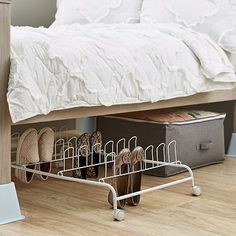 Make Every Inch Count Even Under The Bed Our Underbed Rolling Shoe Rack Features