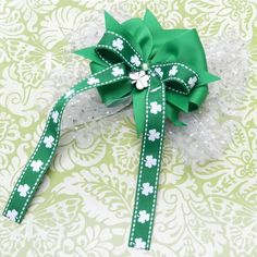 St. Patrick's Day Hair Bow with Long Ribbon Tails