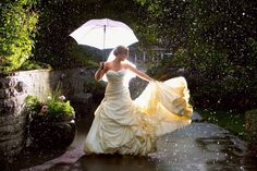 So it rained on your Wedding Day…. Strapless Dress Formal, Formal Dresses, Wedding Dresses, Dancing In The Rain, On Your Wedding Day, One Shoulder Wedding Dress, Ball Gowns, Image, Fashion