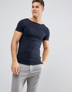 ASOS Extreme Muscle Fit T-Shirt With Boat Neck - Navy