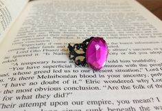rhinestone ring black and purple
