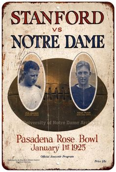 1925 Rose Bowl Stanford vs Notre Dame Vintage Reproduction 8x12 Sign 8120861