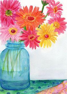 Gerbera Daisies in Aqua canning jar watercolor painting, Original ...