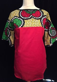 Giant Flower Fusion Top - Colourful African Wax Print with Red body - Medium