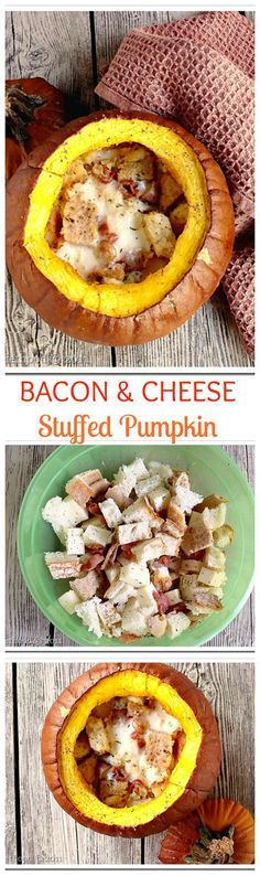 Beautiful pumpkin stuffed with a mixture of bread, bacon and cheese. Out-of-this-world amazing!! This is the perfect addition to your Thanksgiving Table!