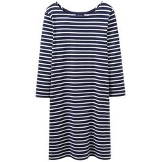 Joules Riviera 3/4 Sleeve Jersey T-Shirt Dress , French Navy Stripe (59 CAD) ❤ liked on Polyvore featuring dresses, french navy stripe, cotton summer dresses, long-sleeve mini dress, blue cocktail dresses, navy blue maxi dress and summer cocktail dresses