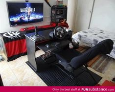 Hardcore Gamer Bedroom Designs with Gaming Chair - Best Video Game Room Ideas: Cool Gaming Setup Designs, Gamer Room Decor, and Apartment Decorating Ideas - Bedroom, Living Room, Small Room Best Gaming Setup, Gaming Room Setup, Gaming Chair, Gaming Rooms, Computer Setup, Pc Setup, Gamer Bedroom, Kids Bedroom, Guy Bedroom