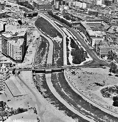 Vista aérea de Murcia 1968 (abajo, a la der. últimos vestigios del Parque Ruiz Hidalgo. Puente pasarela aún sin construir)¡Ay Murcia!: abril 2014