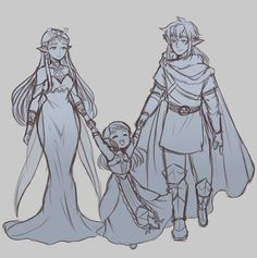 "jojoniumart: "" more zelink but this time it's post botw and zelda is the queen of hyrule while link is the prince consort they're also a bit older so they have a little girl named roma ain't she..."