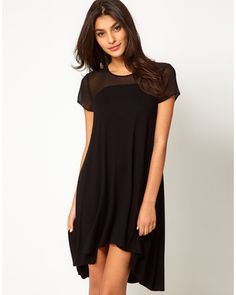 Asos Swing Dress in Jersey With Chiffon Panel And Zip