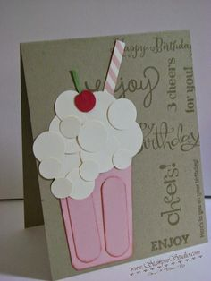 """2"""" x 3"""" piece card stock which was cut at a slight angle on both sides. Then cut 2"""" x 5/8"""" pieces and use Envelope Punch Board to round the corners. The frothy foam and cherry on top were made from various sized of circle punches."""