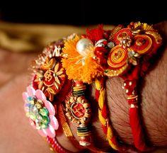 """bracelets called """"rakhi"""" received for the north Indian hindu festival Raksha Bandhan."""