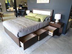 Bed w/ hidden storage - cool idea!