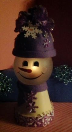 I love to make these little snowmen, they make such a cute Christmas decoration.  I decorate with purple for Christmas even the lights on my...