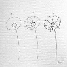 Korean Artist Uploads Step by Step Instructions for Drawing Beautiful Flowers - . - Korean Artist Uploads Step by Step Instructions for Drawing Beautiful Flowers - - # Instructions # Flowers Pencil Art Drawings, Art Drawings Sketches, Easy Drawings, Cool Simple Drawings, Easy Flower Drawings, Pencil Drawings Of Flowers, Art Drawings Beautiful, Doodle Drawings, Simple Art