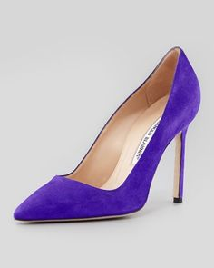 BB Suede Pointed-Toe Pump, Purple by Manolo Blahnik at Neiman Marcus. $595. -- Love, love the purple suede!