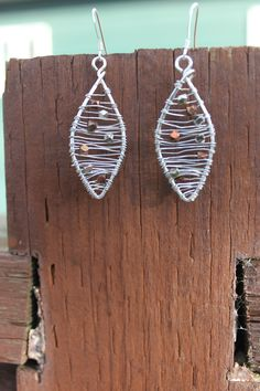 Wrapped Sterling Silver with Silver and Copper Bead Earrings, by Cindy Larson Accessories