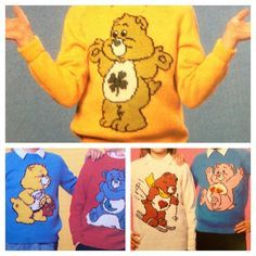 Care Bears knitting pattern sweaters for children and by ECBcrafts