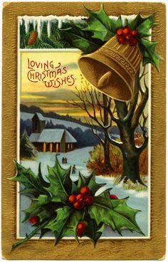 Old Design Shop ~ free digital image: Loving Christmas Wishes vintage postcard