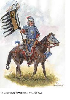 The standard-bearer of Timur-i-leng/Tamerlane, at battle between Toktamysh and Tamerlane, 1396 - Reconstructions by O. Brandukov.