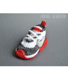 Crochet baby sneakers - crochet shoes -baby Nike - unique gift -baby shower - red gray -crochet booties- Nike air max