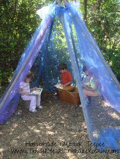 Homemade Outdoor Teepee - Tender Years Childcare Rocklin ≈≈