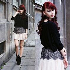 Blouse, Skirt, Boots - Lace tulle skirt. - Katarzyna Konderak