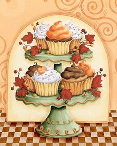Cupcake Heaven by Karla Dornacher. Acrylic on canvas. Images Vintage, Vintage Pictures, Cupcake Kunst, Cupcake Torte, Cupcake Heaven, Pintura Country, Country Paintings, Decoupage Paper, Tole Painting