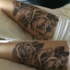 flower tattoo. dot work and line tattoo (Acacia Brinley tattoo done by Romeo Lacoste )