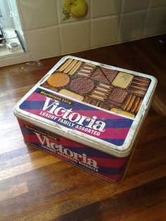 "Victoria biscuit tin - circa 1970s I remember having these at Christmas as I child I thought it was a real treat.... I still have to buy ""Christmas"" tins of biscuits now"