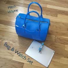 """Bag & Watch Set Honey bear take me...In style plastic blue bucket style handbag. Fashion designer purse by  Mitch Wayne in Scottsdale, AZ.  The bag comes with a light blue watch.  A sturdy trendy purse donned at fashion shows!  Includes dust bag.  A must have or a perfect gift idea.  Take me baby and use me. Almost 7"""" side width, 11 1/4"""" width, height 9"""".  ( HP ) Mitch Wayne Bags"""