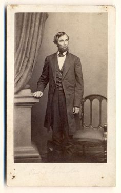 Magnificent standing portrait of President Lincoln taken by Brady staff camera man, Thomas Le Mere, of Matthew Brady's National Portrait Gallery on April 17, 1863. Carte de visite published by E. Anthony, New York. *s*