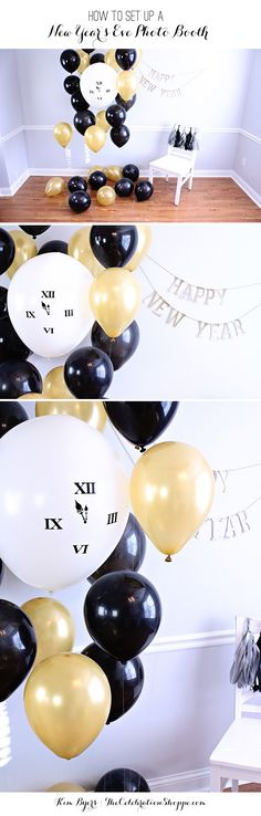 How To Make A New Year's Eve Party Photo Booth | @kimbyers | #photobooth #nyeve #goldblack #balloons #newyearseve