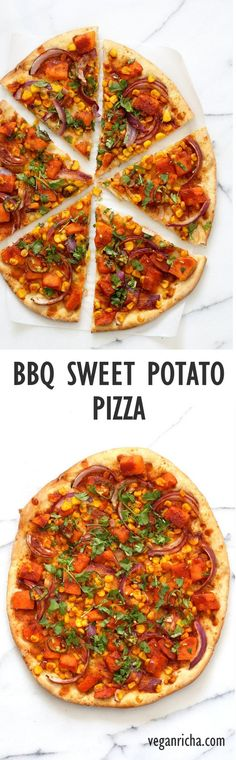 BBQ Sweet Potato Pizza. Easy Summer Pizza with Sweet Potato, Corn, Jalapeno and Barbecue sauce. Grill or bake or make into a quesadilla. Vegan Nut-free Barbecue Pizza Recipe. Soy-free Gluten-free option | VeganRicha.com
