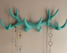 ANTLERS - Light Turquoise Blue Deer Antler Rack - Faux Taxidermy Wall Decor - Jewelry Necklace Holder - Tie Rack - Scarf Holder Rustic Decor