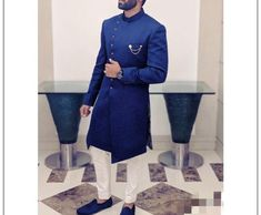 Blue Indo Western For Party / Sherwani with Churidar for men / Suit / shervani for men / kurta set / Groom kurta / Groom sherwani by RajwadaStudioArt on Etsy Wedding Dresses Men Indian, Wedding Dress Men, Bridal Lehenga, Lehenga Choli, Kurta Pajama Men, Sherwani Groom, Groom Tuxedo, Groom Attire, Churidar