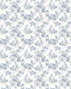 Papier dessin Toile de Jouy bleue
