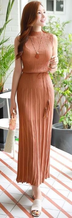 Style on me_Slim Fit Pleated Maxi Knit Dress, elegant Korean fashion style, seoul summer look Knit Dress, Dress Skirt, Jumper Dress, Pretty Dresses, Beautiful Dresses, Modest Fashion, Fashion Dresses, Dress Outfits, Casual Dresses