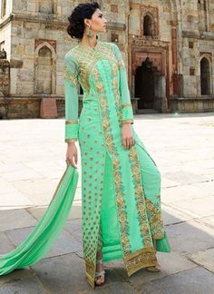 Light Turquoise Royal Georgette Embroidery Work Salwar Suit  http://www.angelnx.com/Salwar-Kameez