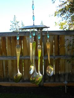 Wind chime with assorted whimsical silver pieces - rustic garden art - aquamarine pearl black teal glass beads -vintage flatware - spoons