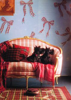 Fabulous plaid settee, of course the Scottie Dogs are exceptionally adorable!