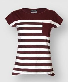 Show off your school pride with this stripped pocket tee. Made of soft 100% cotton this tee has cap sleeves. The front of the shirt features a maroon and white stripe design with a maroon breast pocket.