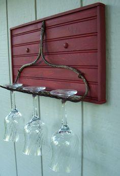 Vintage Iron Rake and Bead Board Wine Glass Display and Storage, Hat Rack, Shelf, Jewelry Display. $34.00, via Etsy.